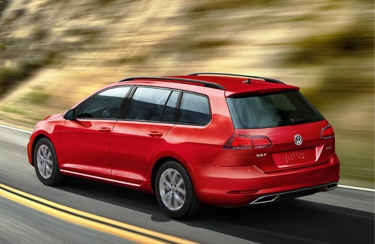 Exterior view of the rear of a red 2019 Volkswagen Golf SportWagen