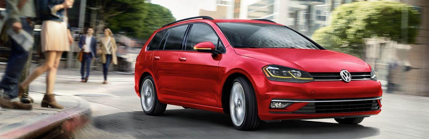 Exterior view of a red 2019 Volkswagen Golf SportWagen