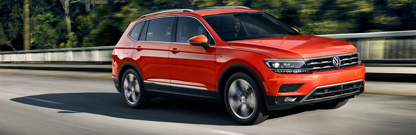 Exterior view of an orange 2020 Volkswagen Tiguan