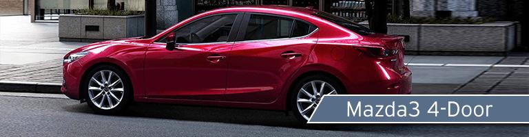 2018 Mazda3 red sedan side view