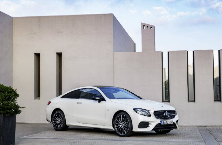 white 2018 Mercedes-Benz E-Class Coupe front side profile