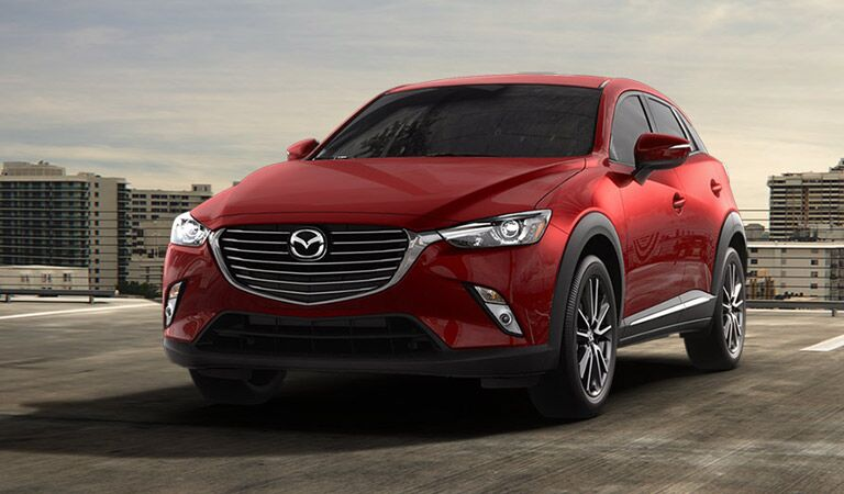 front view of a red 2017 Mazda CX-3