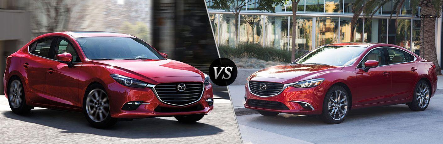 red 4-door 2018 Mazda3 vs red 2018 Mazda6