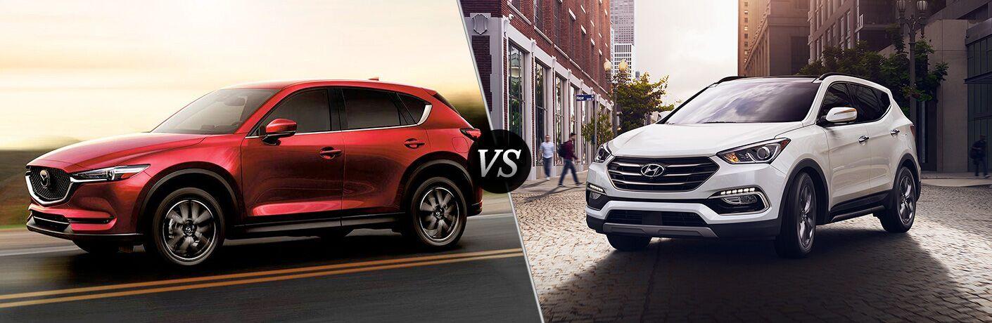 Split screen images of the 2018 Mazda CX-5 and the 2018 Hyundai Santa Fe Sport