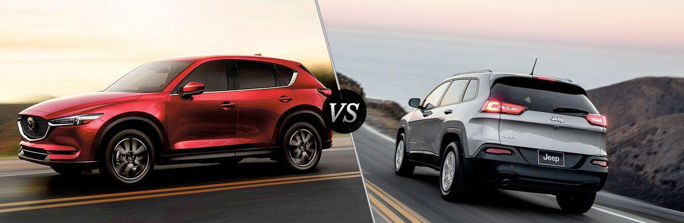 Split screen images of the 2018 Mazda CX-5 vs 2018 Jeep Cherokee