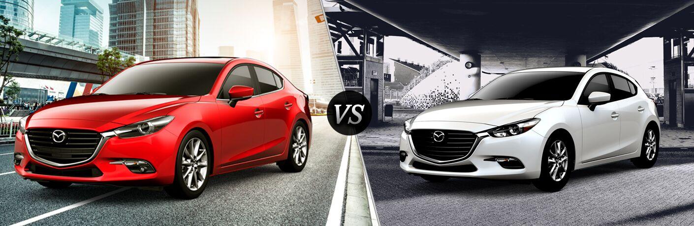 Split screen images of the 2018 Mazda3 4-Door and 2018 Mazda3 5-Door