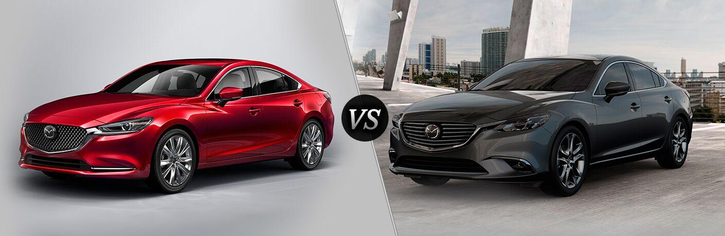 Red 2018 Mazda6 on a Gray Background vs Gray 2017 Mazda6 on a City Street