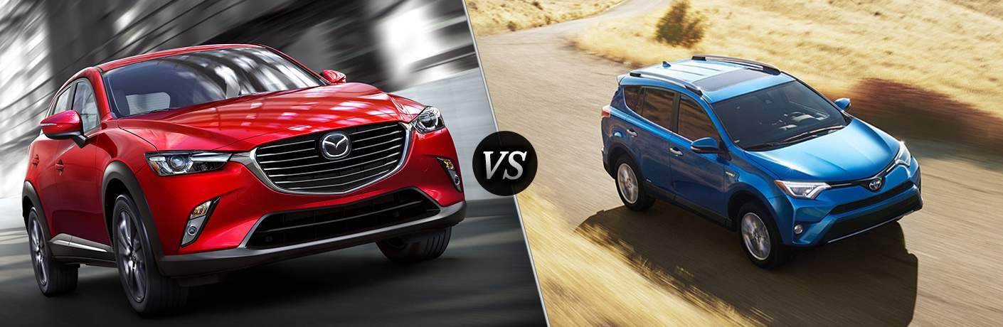 2018 Mazda CX-3 and 2018 Toyota RAV4 side by side