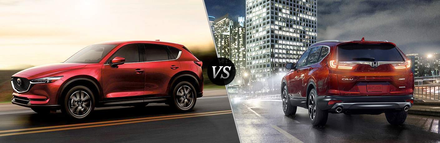 side by side images of the 2018 Mazda CX-5 and 2018 Honda CR-V