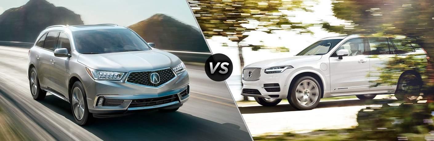 comparison image between the 2018 Acura MDX vs 2018 Volvo XC90