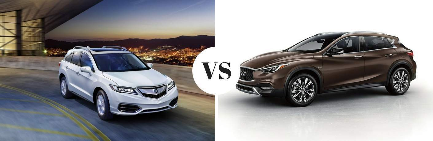 2018 Acura RDX in white vs 2018 INFINITI QX30 in green