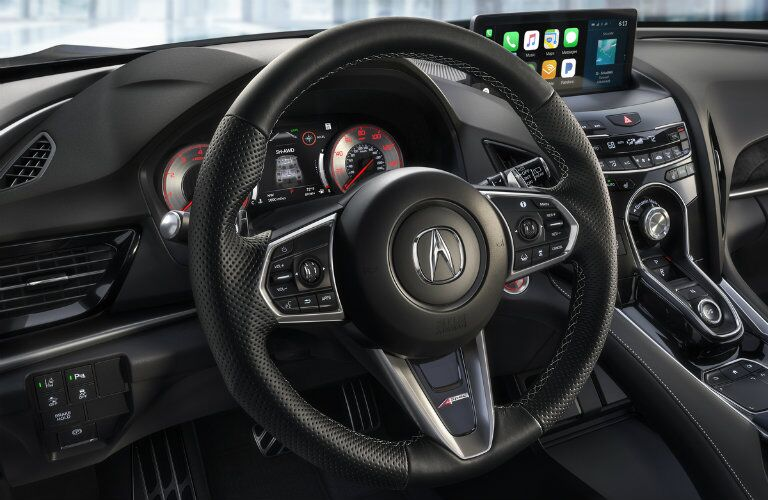 steering wheel design and dashboard display in 2019 Acura RDX