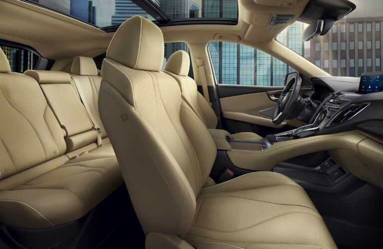 side profile of tan seating in 2019 Acura RDX with sunroof