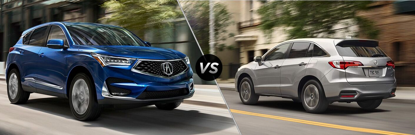 Split screen images of the 2019 Acura RDX and 2018 Acura RDX