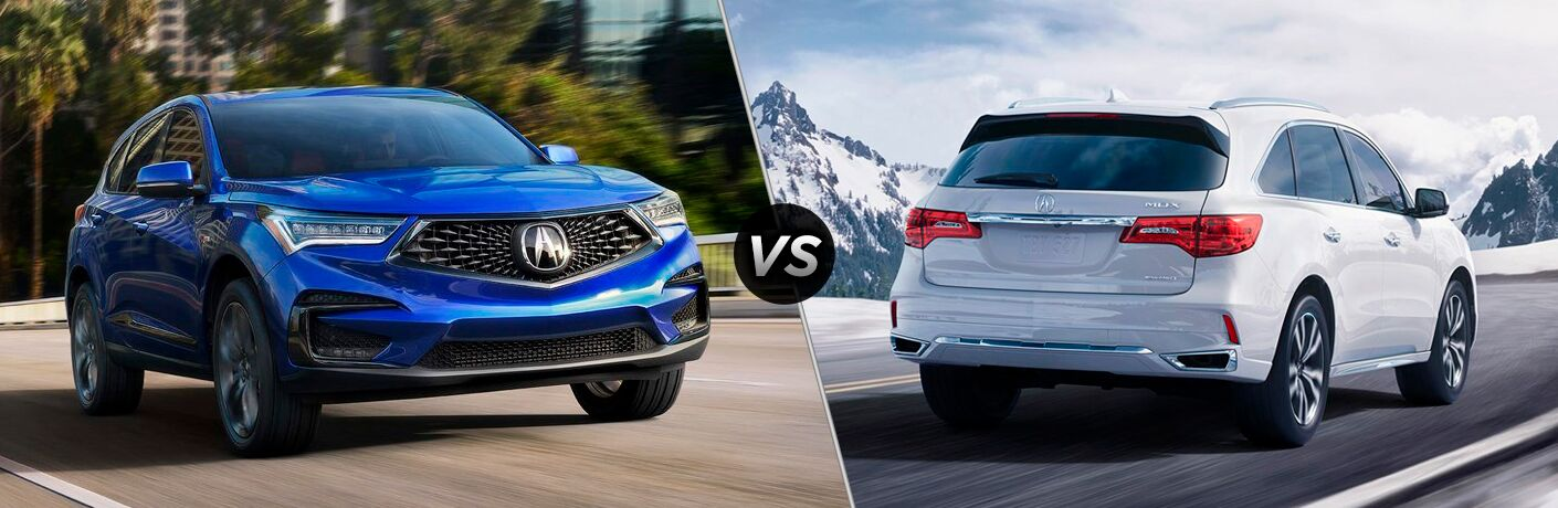 split-screen images of the 2019 Acura RDX and 2019 Acura MDX