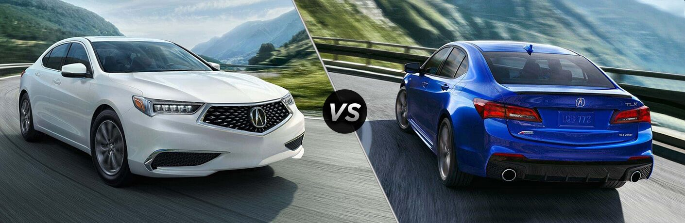 Split screen images of the 2019 Acura TLX and the 2018 Acura TLX