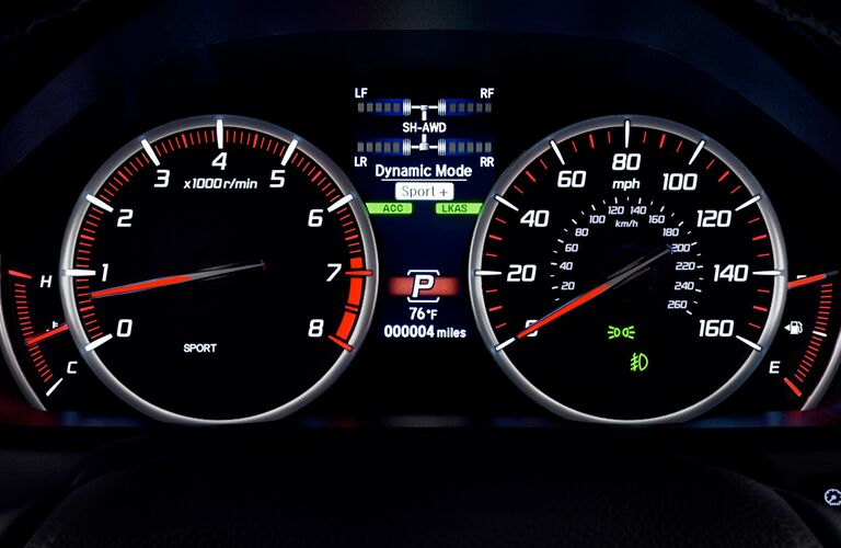 A close up photo of the center gauge cluster in the 2018 Acura TLX