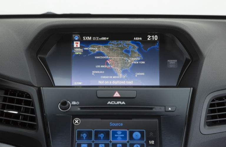 A close up photo of the infortainment system in the 2018 ILX