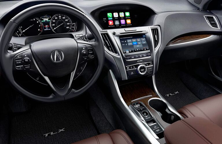 A photo of the dashboard and infotainment system in the 2018 Acura TLX.