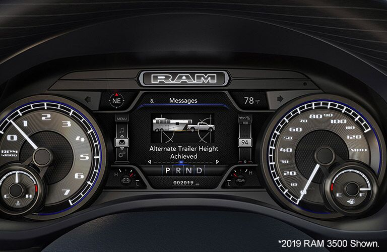 2020 Ram 3500 interior view of instrument cluster and edges of steering wheel