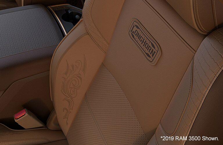 2020 Ram 3500 close up of Laramie Longhorn leather seats