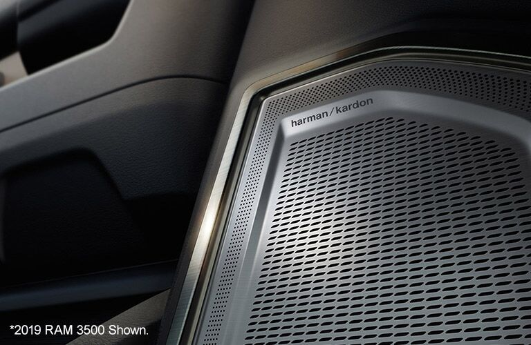 2020 Ram 3500 interior close up of hk sound system speaker