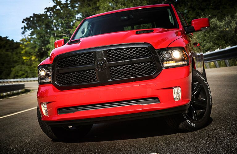 Red 2017 Ram 1500 Front Exterior with Black Grille
