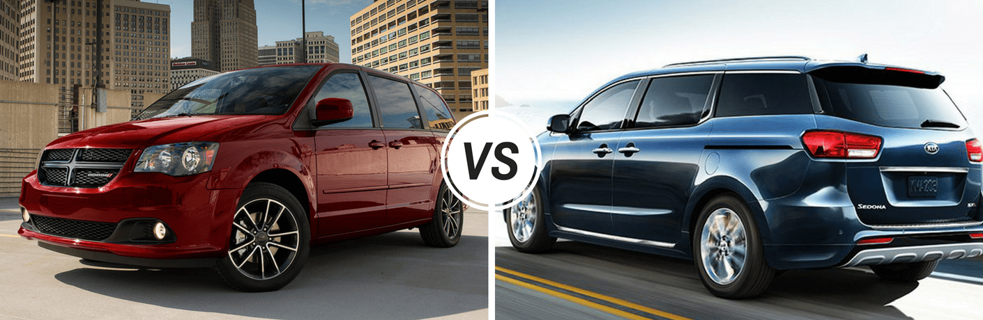 Dodge Grand caravan and kia sedona side by side