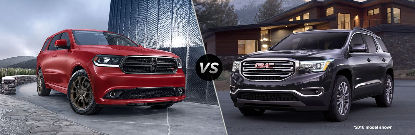 "2018 Dodge Durango vs 2018 GMC Acadia with the text ""*2018 model shown"""