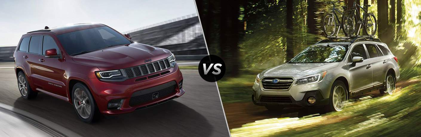 2018 jeep grand cherokee and 2018 subaru outback side by side