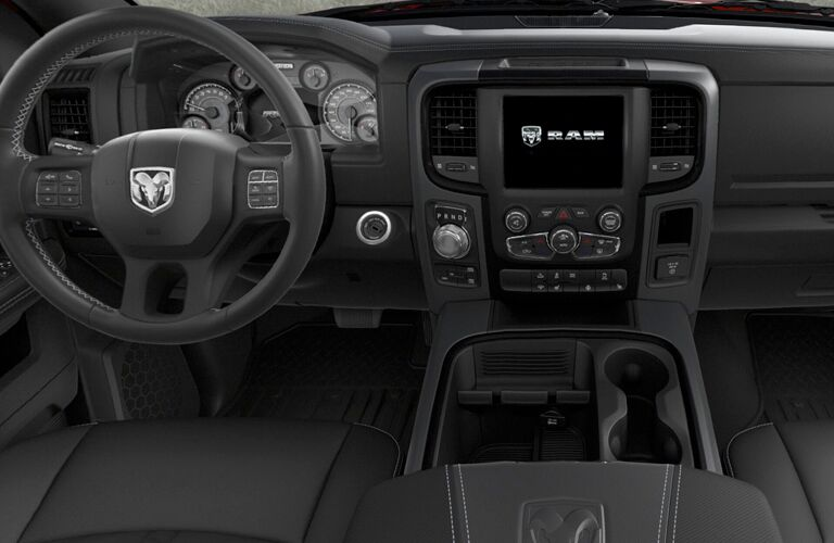 Steering wheel and touch screen inside the Ram 1500