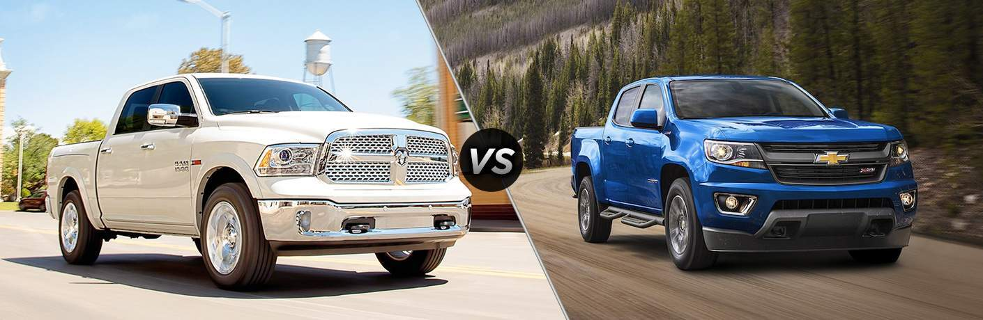 White 2018 Ram 1500 on the left, Blue Chevrolet Colorado on the right