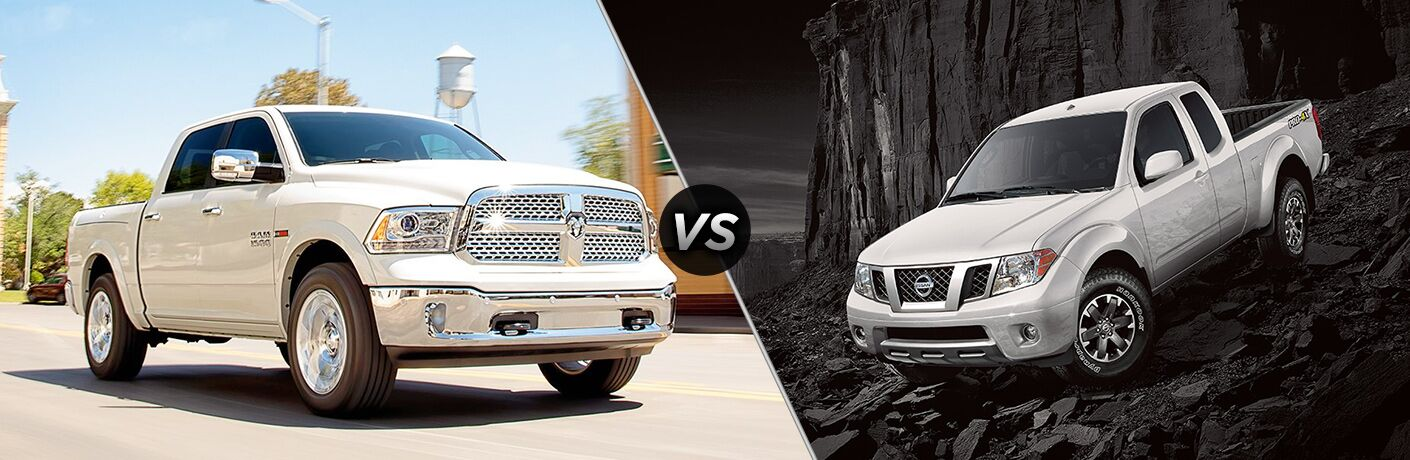 White 2018 Ram 1500 on the left, White 2018 Nissan Frontier on the right