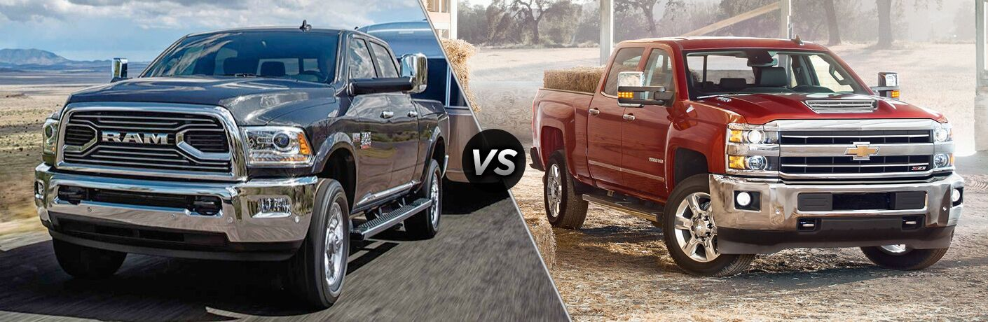 2018 Ram 2500 exterior front fascia and drivers side on road vs 2018 Chevrolet Silverado exterior front fascia and passenger side