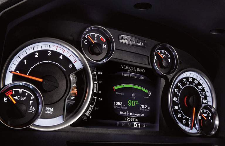 2018 Ram 2500 interior close up of drivers side dashboard speedometer