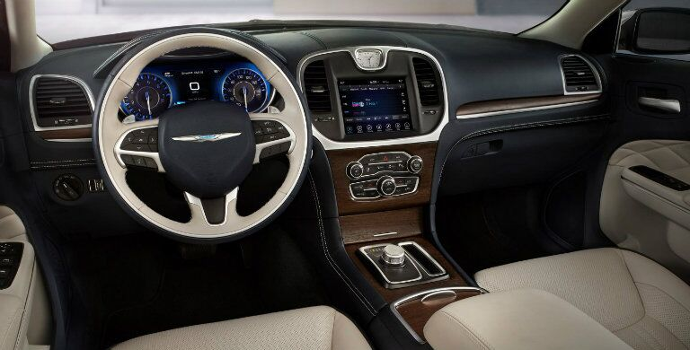 Steering wheel and touch screen inside the 2018 Chrysler 300