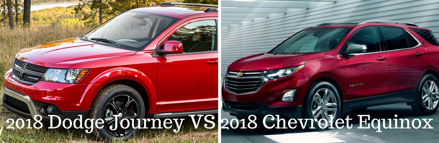 Orange 2018 Dodge Journey on the left on the right red 2018 Chevy Equinox