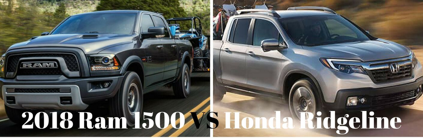 On the left 2018 Ram 1500 on the right 2018 Honda Ridgeline