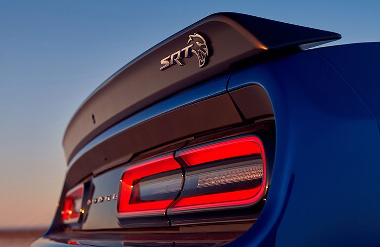 back of blue 2019 Dodge Challenger SRT