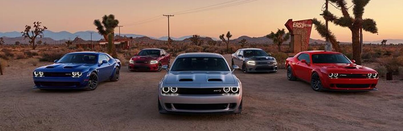 2019 Dodge Challenger parked by each other