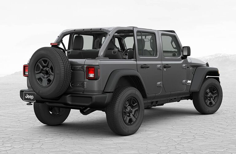 rear of grey 2019 Jeep Wrangler