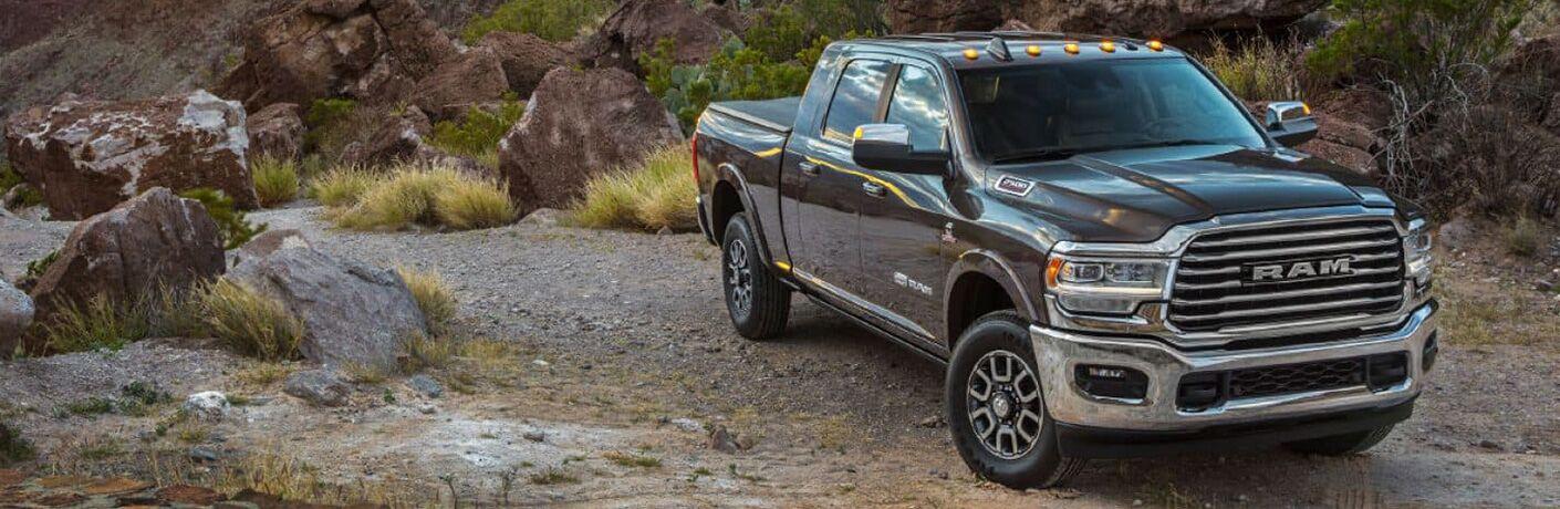 2019 Ram 2500 parked on a rocky mountain