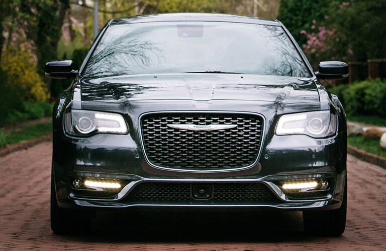 2020 Chrysler 300 exterior head on shot showing grille and wings logo