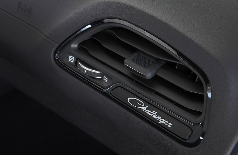 2020 Dodge Challenger closeup of air vent with name badge
