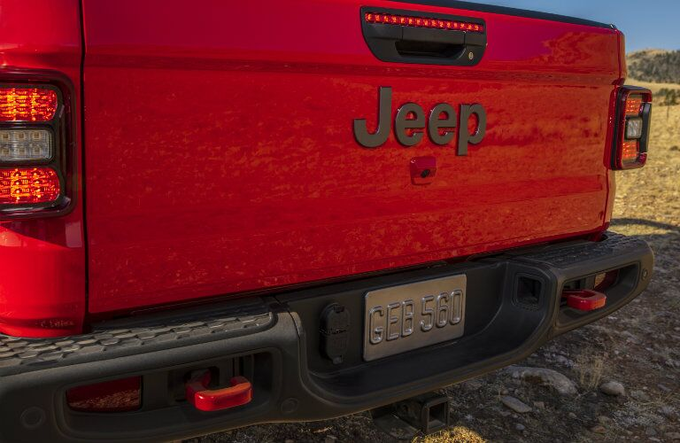 2020 Jeep Gladiator red close up of closed tailgate