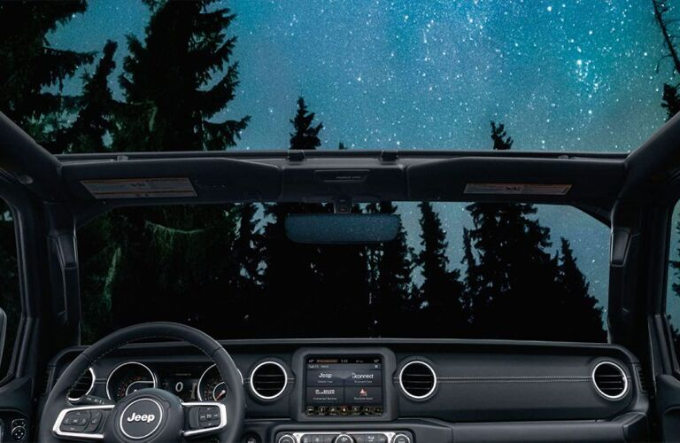 front interior with stars above of 2020 Jeep Wrangler