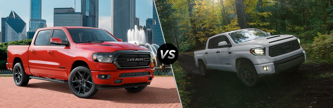 2020 Ram 1500 red paint parked on brick pavement vs 2020 Toyota Tundra white paint driving through green forest