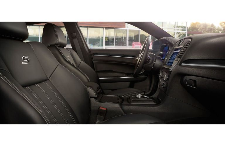2020 Chrysler 300 interior shot from passenger seat showing driver seat with S logo and steering wheel