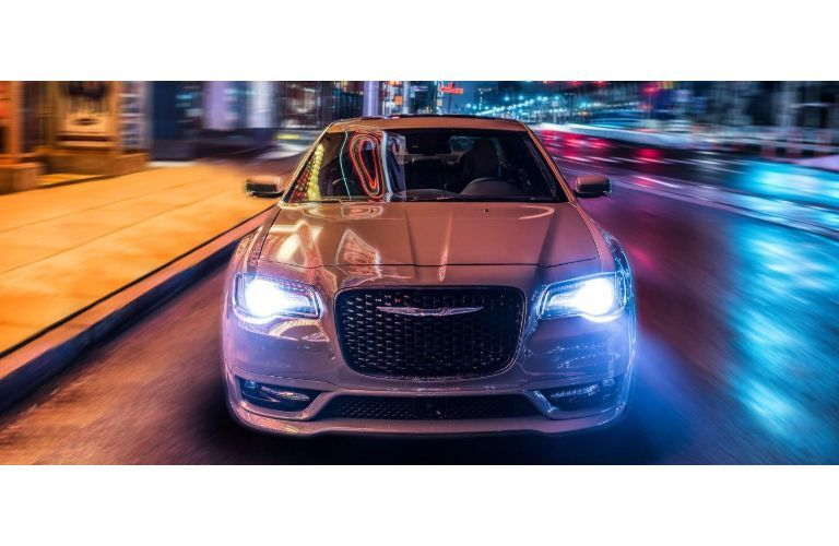 2020 Chrysler 300 white paint surreal coloration night lighting headlights on