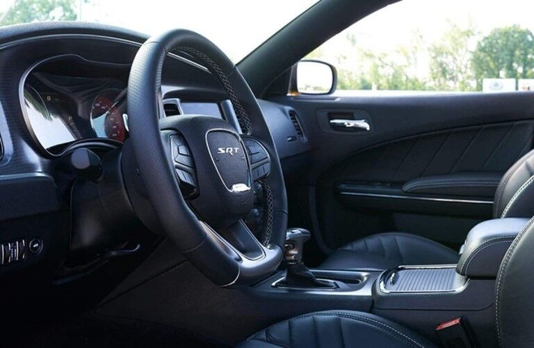 Steering wheel and gear shifter inside 2020 Dodge Charger
